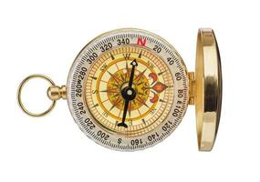Retro brass compass photo