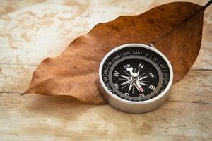 Compass and dried leaf on old wooden background, vintage style