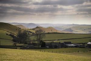 Beautiful sunny landscape of Peak District in UK photo