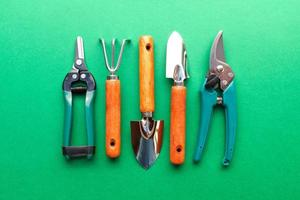 Gardening utensils on green background