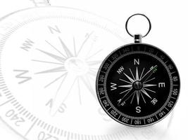 Black magnetic portable compass on white