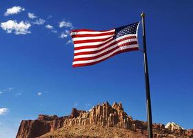 US Flag with  sandstone formation