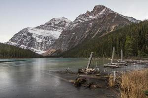 Mt. Edith Cavell and melting lake photo