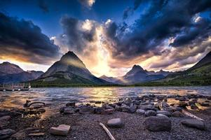Swiftcurrent Lake at Sunset