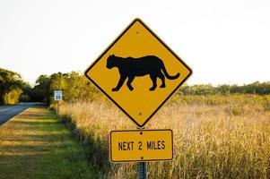Road Sign Warning against Bobcats photo