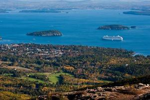 Bar Harbor, Maine with tourist cruise ship visiting photo