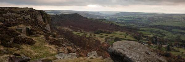 Panorama paisaje Peak District National Park Inglaterra en otoño