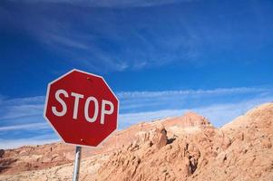 Stop sign in Arches National Park photo