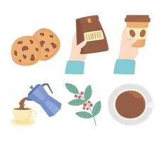 Cute coffee break icon set vector