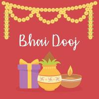 Happy Bhai Dooj. Gift, food, light, and flowers decoration vector