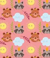 lindo oso, mapache, abeja y sol de dibujos animados