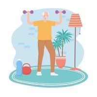 Elderly man exercising indoors vector