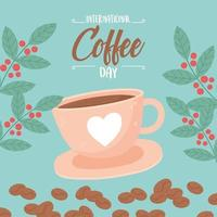 Cup of coffee for International Coffee Day vector