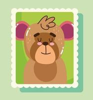 Cute monkey in mail stamp vector