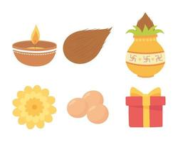Happy Bhai Dooj. Candle, flower, gift, and food  vector