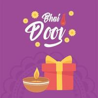 Happy Bhai Dooj, diya lamp gift and flowers vector