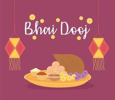 Happy Bhai Dooj. Lanterns, flowers, and traditional food vector