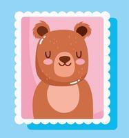 Cute little bear cartoon in mail stamp vector
