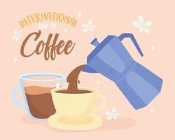 banner de celebración del día internacional del café vector