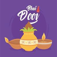 Happy Bhai Dooj. Indian family ceremony celebration card