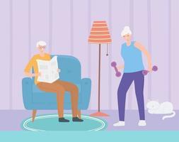 Elderly people doing indoor activities