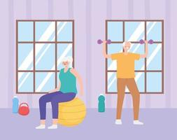 Elderly people working out indoors vector
