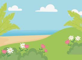paisaje, prado, flores, playa de arena, mar y cielo