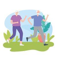pareja de ancianos corriendo al aire libre vector