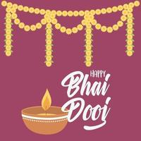 Happy Bhai Dooj. Diya lamp light and flowers garland vector