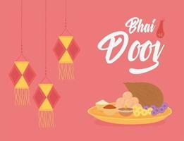 feliz bhai dooj. linternas colgantes y comida tradicional. vector