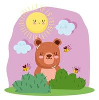 Little bear with bees, grass, sun and clouds  vector