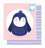 Penguin post stamp card  vector