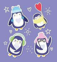 Funny penguins with hats, glasses, and scarf