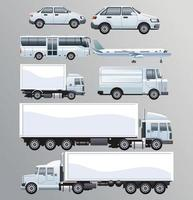 Bundle of white transport vehicles set vector