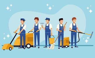 Male housekeeping workers with equipment  vector