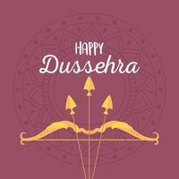 Happy Dussehra festival. Bow and arrow on mandala vector