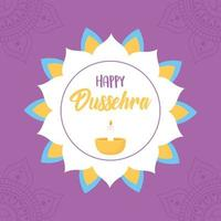 Happy Dussehra festival. Floral mandala and diya lamp vector