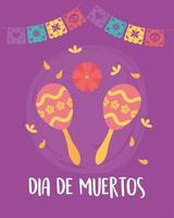 Day of the Dead celebration with maracas vector