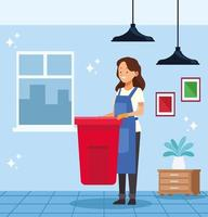 Housekeeping worker with garbage waste can vector