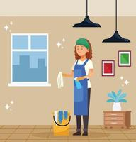 Female housekeeping worker with bucket vector