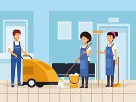 concepto de equipo de limpieza vector