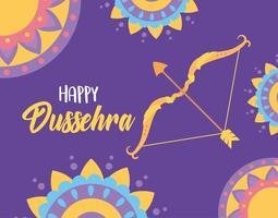 Happy Dussehra festival of India. Mandalas, bow, and arrow vector