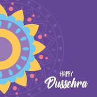 feliz festival dussehra de la india. decoración de mandala de colores.
