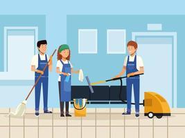 trabajadores de equipo pequeño de limpieza vector