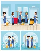 conjunto de trabajadores del equipo de limpieza de oficina vector