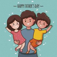 Hand-drawn Cheerful Fathers and His Children vector