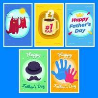 conjunto de ilustración de tarjeta para el día del padre vector
