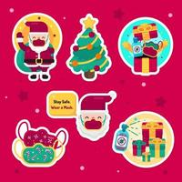 Sticker Set of Christmas During Covid-19 Pandemic