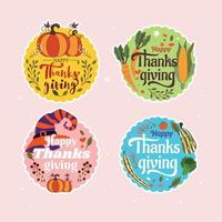 Colorful Thanksgiving Sticker or Label Pack vector