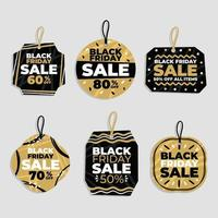 Abstract Black Friday Sale Label Set vector